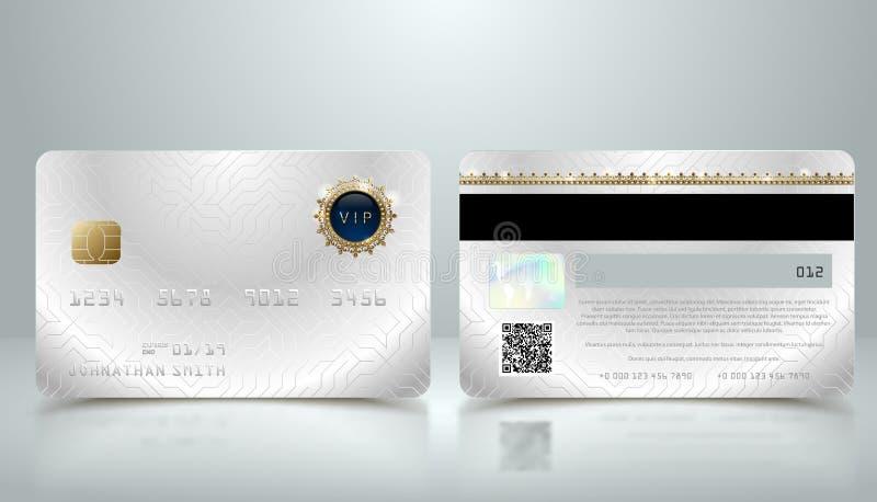 Dirigez la carte de crédit argentée réaliste avec le fond géométrique abstrait Calibre métallique d'or de conception de carte de  illustration de vecteur