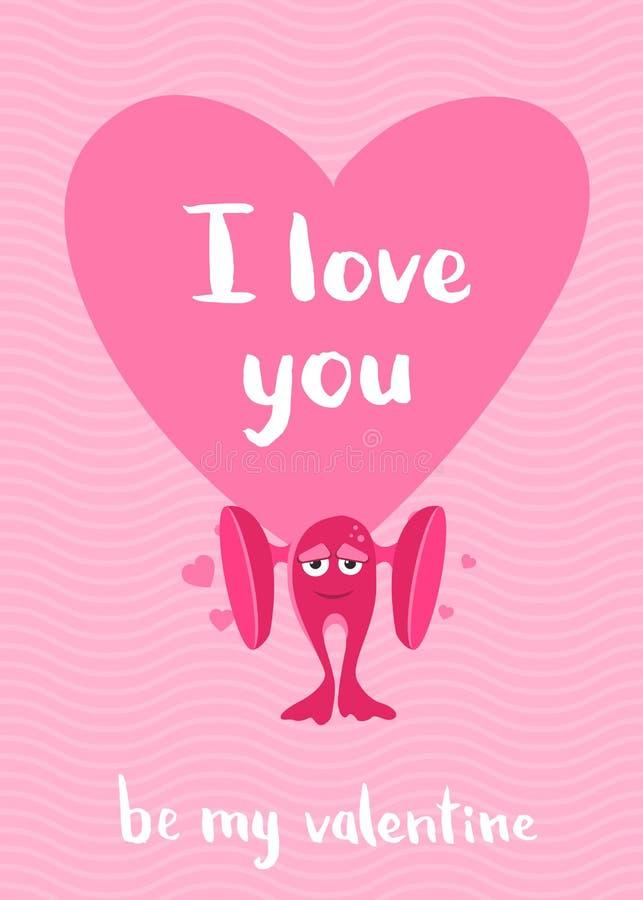 Dirigez la carte de jour de valentines avec des coeurs, le monstre de bande dessinée avec de grandes oreilles et le lettrage sur  illustration stock