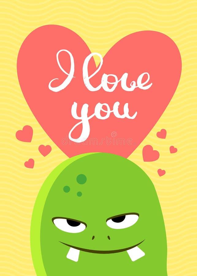 Dirigez la carte de jour de valentines avec le coeur, le monstre mignon et le lettrage sur le fond onduleux illustration stock