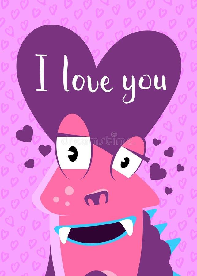 Dirigez la carte de jour de valentines avec les coeurs, le monstre mignon et le lettrage sur le fond de coeurs illustration stock