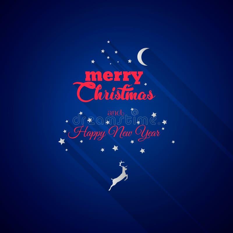 Dirigez la carte de Noël de la nuit de Noël abstraite avec le renne photographie stock libre de droits