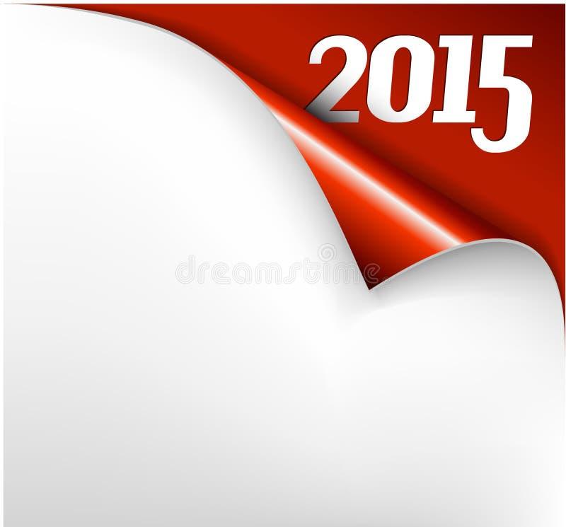 Dirigez la carte de nouvelle année de Noël - feuille de papier avec une boucle 2015 illustration de vecteur