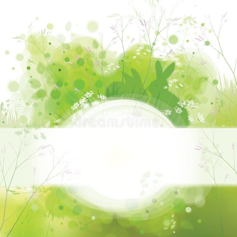 Dirigez la carte de Pâques, lapins sur le fond de nature de ressort illustration de vecteur