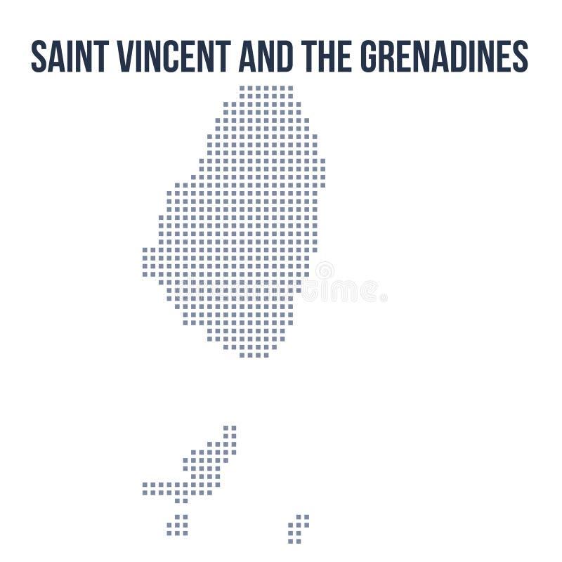 Dirigez la carte de pixel de Saint-Vincent-et-les-Grenadines a isolé sur le fond blanc illustration de vecteur