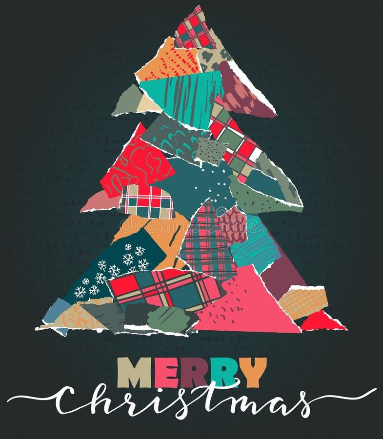Dirigez la carte de voeux avec l'arbre de Noël dans le style de collage de patchwork illustration de vecteur