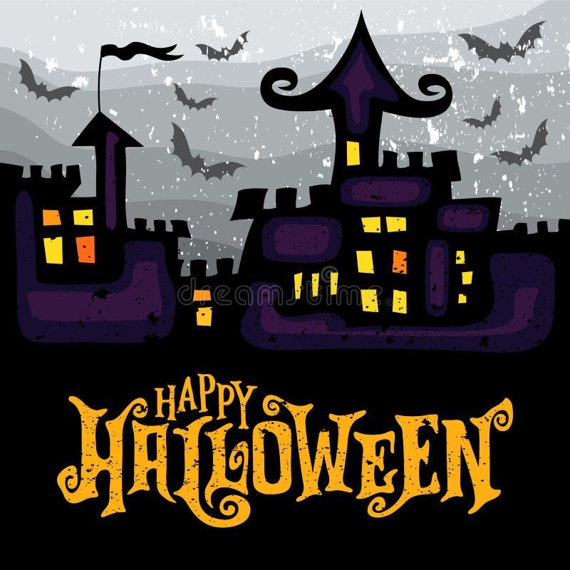 Dirigez la carte de voeux avec le château hanté fantasmagorique de Halloween illustration de vecteur