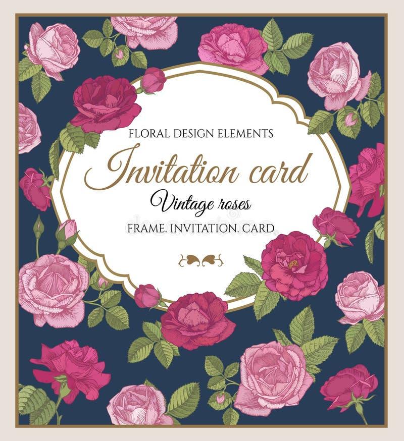 Dirigez la carte de voeux avec les roses rouges et roses dans le style de vintage illustration libre de droits