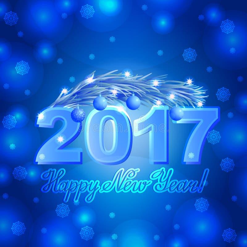 Dirigez la carte de voeux de Noël avec le fond de bleu de félicitation de lettrage Flocons de neige et branche 2017 de texte de p illustration de vecteur