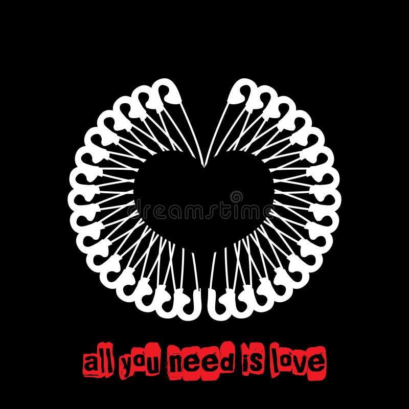 Dirigez la carte de voeux unique de punk rock du jour de valentine avec les goupilles de sécurité blanches formant un coeur illustration de vecteur