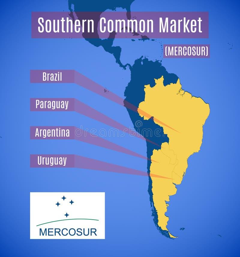 Dirigez la carte et l'emblème de MERCOSUR du sud Witho de marché commun illustration stock