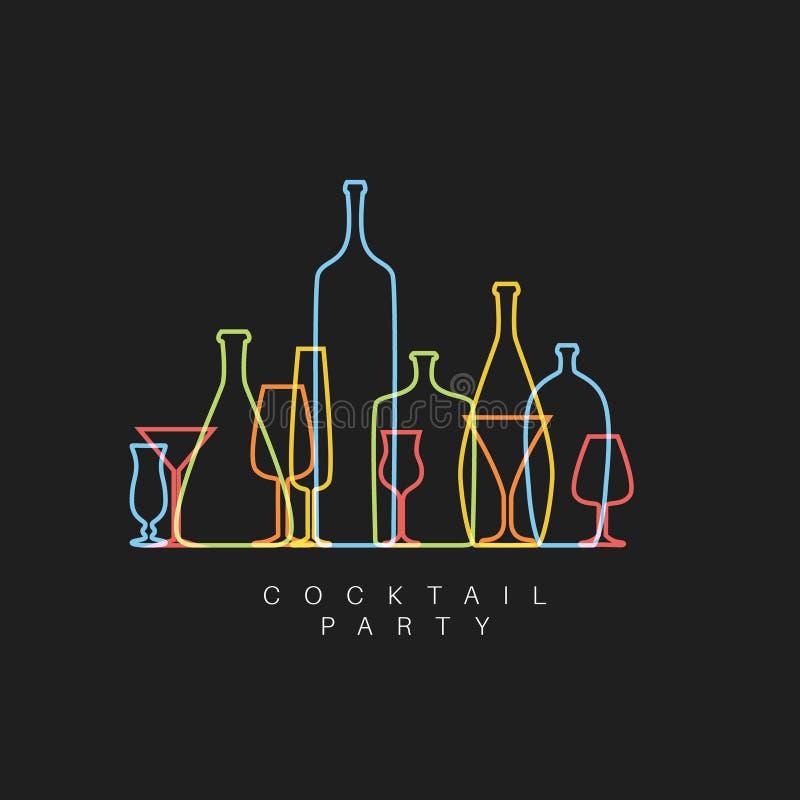 Dirigez la carte fraîche d'invitation de cocktail avec des verres et des bouteilles illustration de vecteur