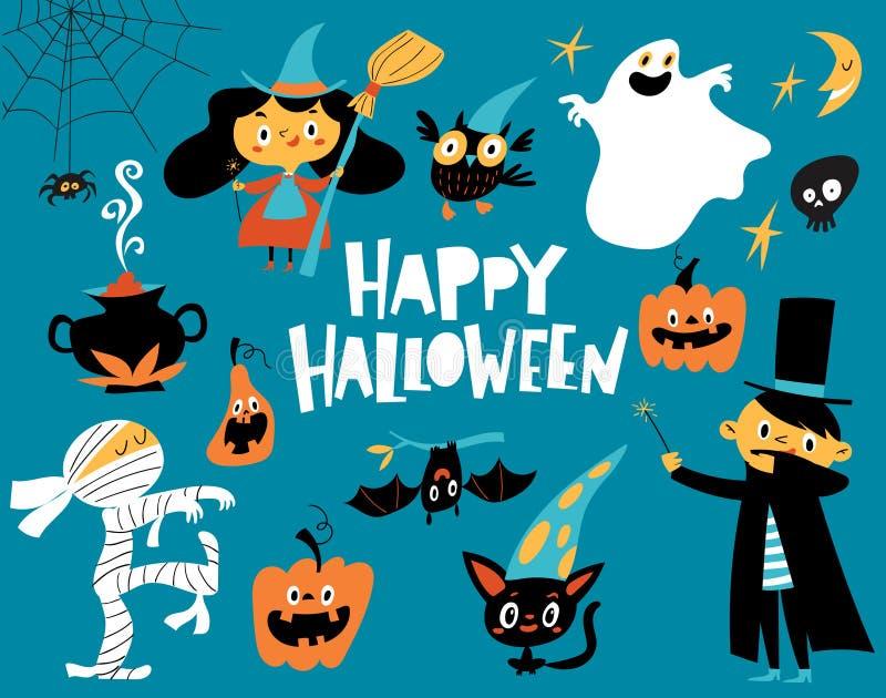 Dirigez la carte heureuse de Halloween avec des éléments de conception de Halloween de style de bande dessinée illustration de vecteur