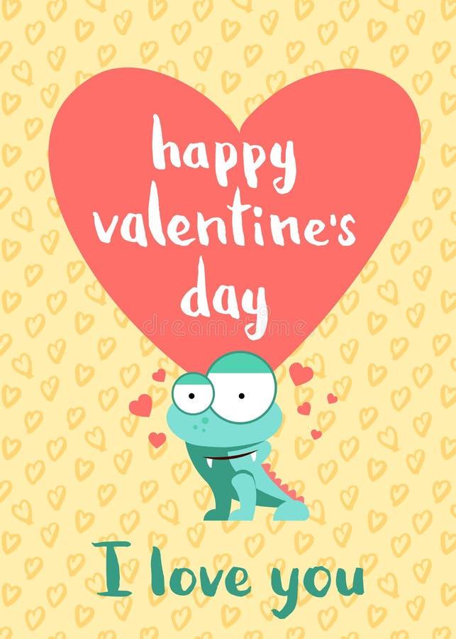 Dirigez la carte heureuse de jour de valentines avec les coeurs, le monstre mignon et le lettrage sur le fond de coeurs illustration libre de droits