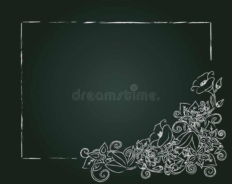 Dirigez la carte, les fleurs de craie et les feuilles florales illustration stock