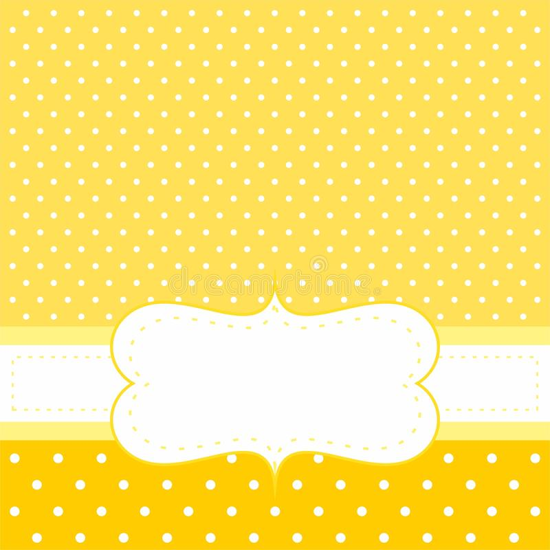 Dirigez la carte ou l'invitation avec le fond jaune, points de polka blancs illustration libre de droits