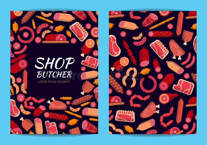 Dirigez la carte plate d'icônes de viande et de saucisses ou l'illustration de calibre d'insecte illustration stock