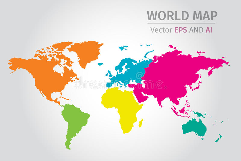 Dirigez la carte politique du monde utilisant différentes couleurs sur chaque continent illustration libre de droits