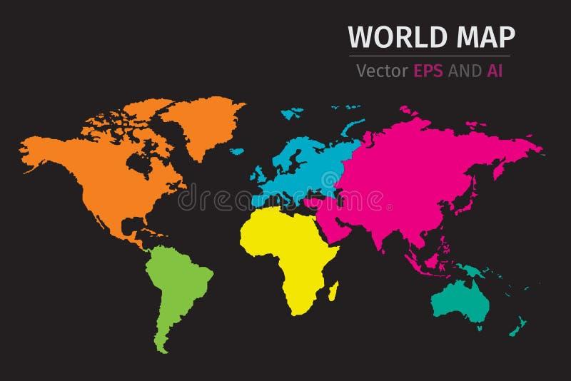 Dirigez la carte politique du monde utilisant différentes couleurs sur chaque continent illustration stock