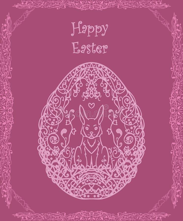 Dirigez la carte postale de fête rose florale pour Pâques avec un lapin et illustration de vecteur