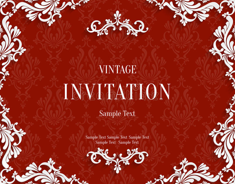 Dirigez la carte rouge d'invitation du vintage 3d avec le modèle floral de damassé illustration stock