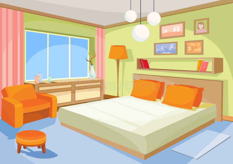 Dirigez la chambre à coucher orange-bleue intérieure d'illustration de bande dessinée, un salon avec un lit, chaise molle illustration stock