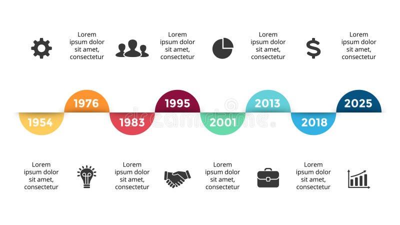 Dirigez la chronologie de cercles de flèches infographic, diagramme de diagramme, présentation de graphique Concept de progrès d' illustration stock