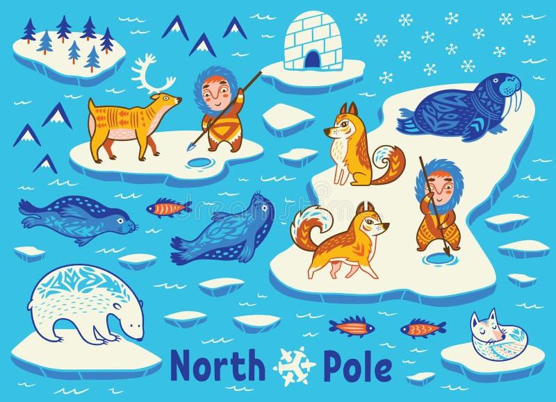 Dirigez la collection d'animaux, d'Esquimaux et de yurt polaires illustration libre de droits