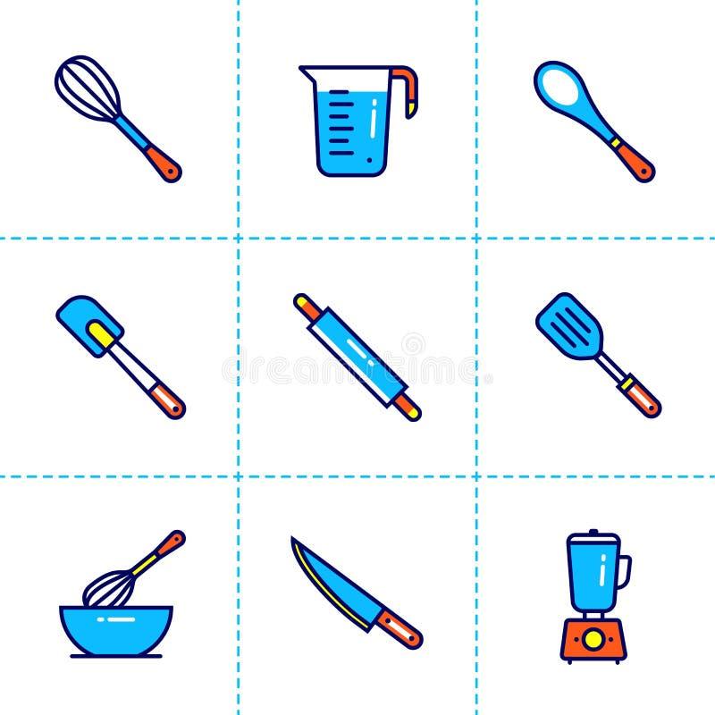 Dirigez la collection d'icônes d'ensemble, boulangerie, faisant cuire Icônes modernes de qualité de la meilleure qualité appropri image stock