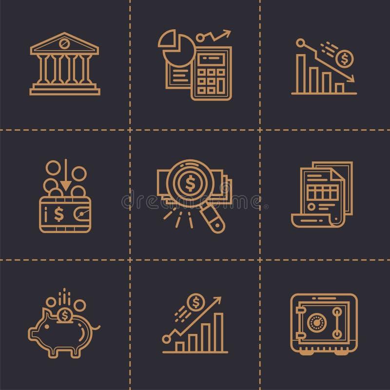 Dirigez la collection d'icônes d'ensemble, finances, encaissant premium image stock