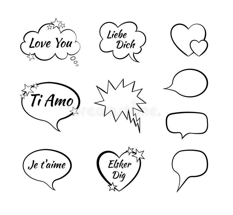 Dirigez la collection de bulles de la parole, les éléments comiques de conception, ` de ` je t'aime sur différentes langues angla illustration de vecteur