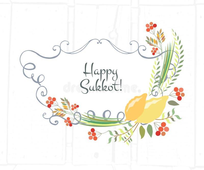 Dirigez la collection de labels et d'éléments pour Sukkot illustration de vecteur