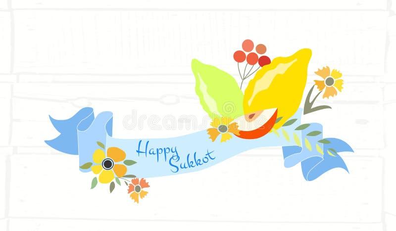 Dirigez la collection de labels et d'éléments pour Sukkot illustration stock