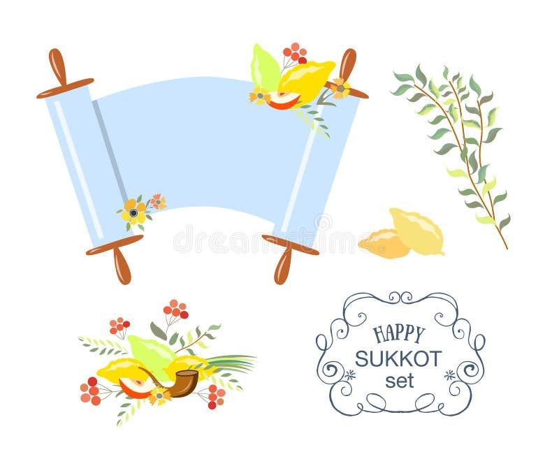 Dirigez la collection de labels et d'éléments pour Sukkot illustration libre de droits