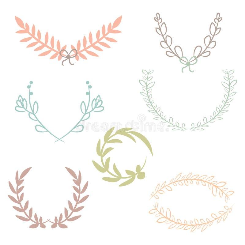 Dirigez la collection de lauriers, d'éléments floraux et de bannières illustration de vecteur