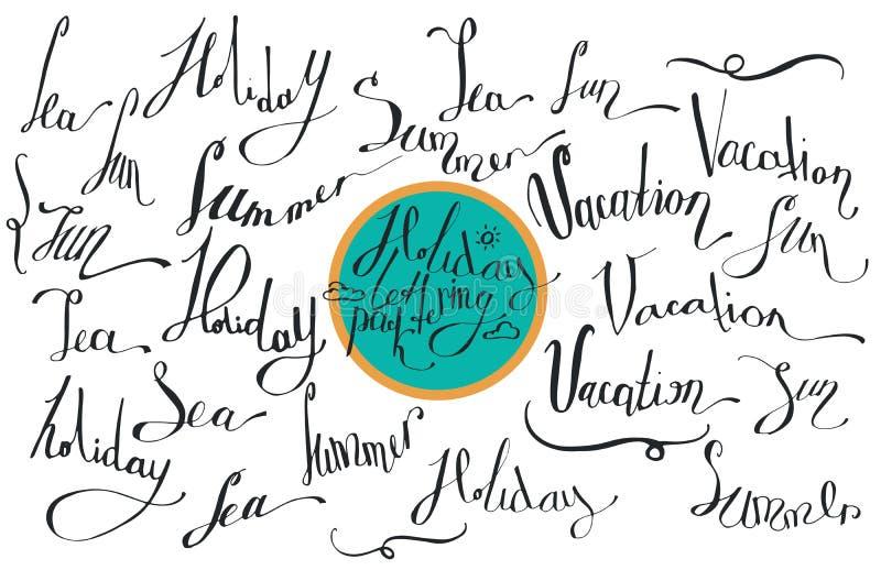 Dirigez la collection de lettrage, consacrée aux vacances d'été, avec la mer de mots, le soleil, vacances, vacances, été D'isolem illustration de vecteur
