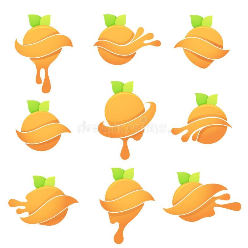 Dirigez la collection de symboles lumineux d'agrume avec les feuilles vertes et illustration libre de droits