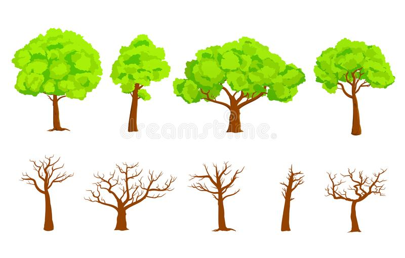 Dirigez la collection des arbres verts et de l'ensemble nu plat d'illustration de vecteur d'arbres illustration libre de droits