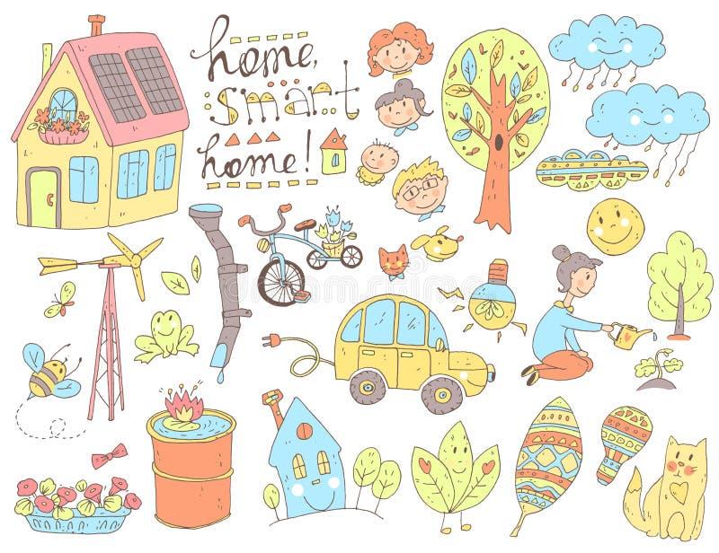 Dirigez la collection mignonne de griffonnage de l'écologie et de la famille Nature, alt illustration de vecteur