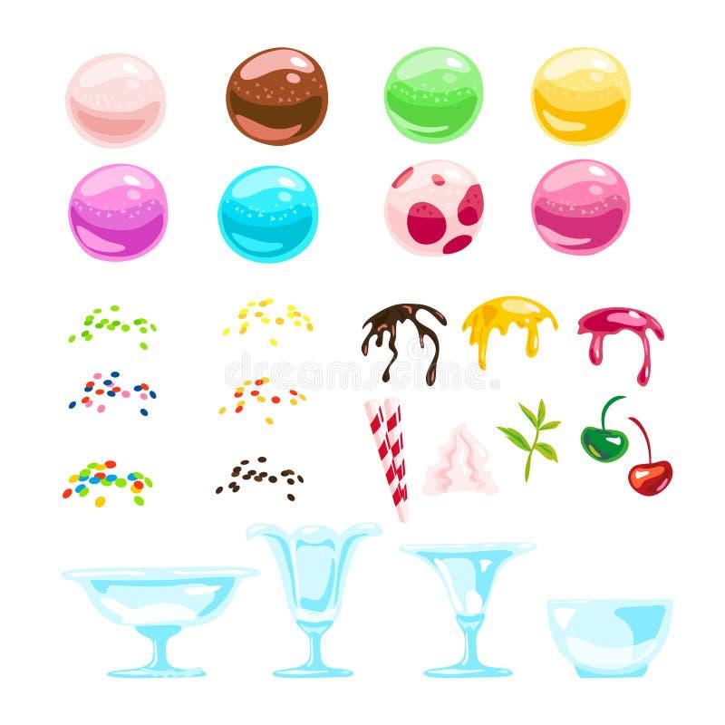 Dirigez la collection plate d'éléments colorés doux savoureux de crème glacée d'isolement sur le fond blanc illustration stock