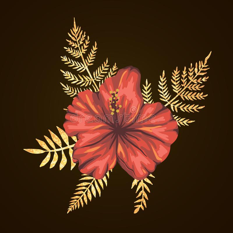 Dirigez la composition tropicale des fleurs de ketmie avec les feuilles texturisées d'or sur le fond noir Style réaliste lumineux illustration libre de droits