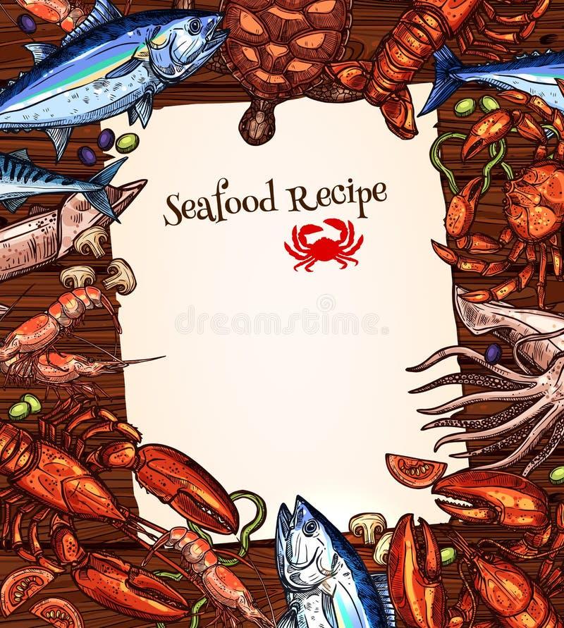 Dirigez la conception de blanc de recette de fruits de mer du crochet de poissons illustration de vecteur