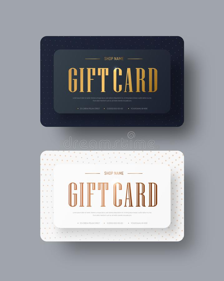 Dirigez la conception de carte cadeaux noire et blanche avec le texte et les points d'or illustration libre de droits