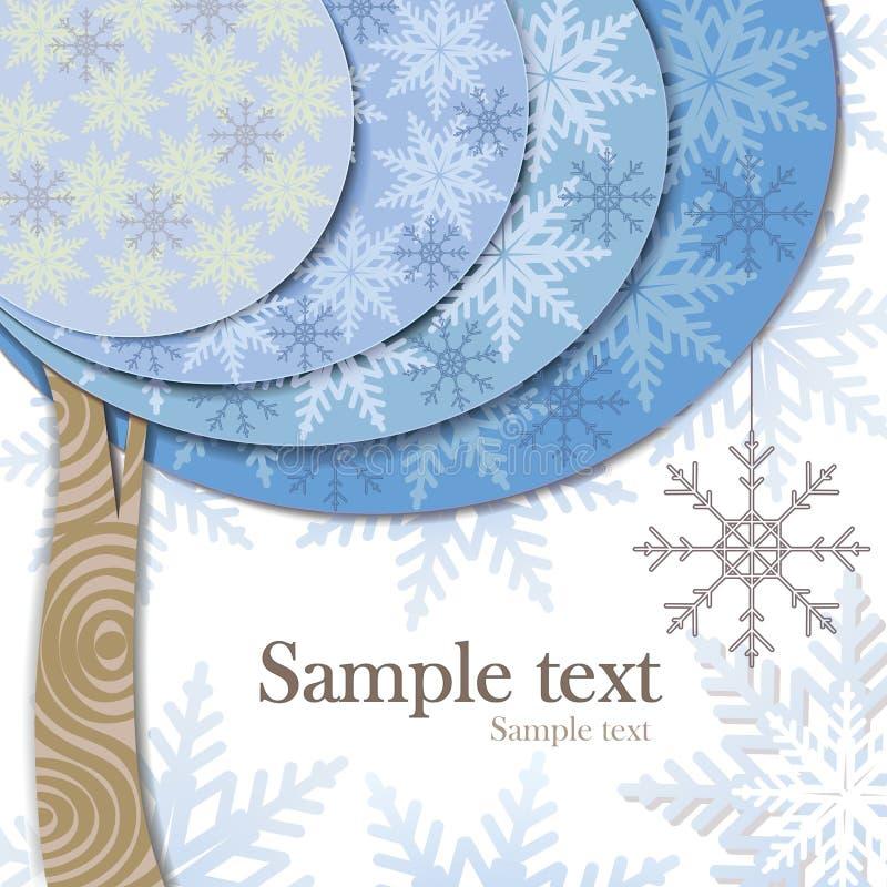 Dirigez la conception de carte moderne avec le tre stylisé de l'hiver illustration libre de droits