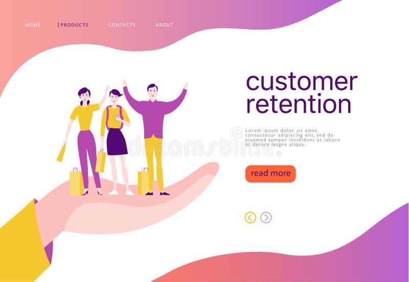 Dirigez la conception de l'avant-projet de page Web - thème de conservation de client Les personnes heureuses de achat avec le sa illustration libre de droits