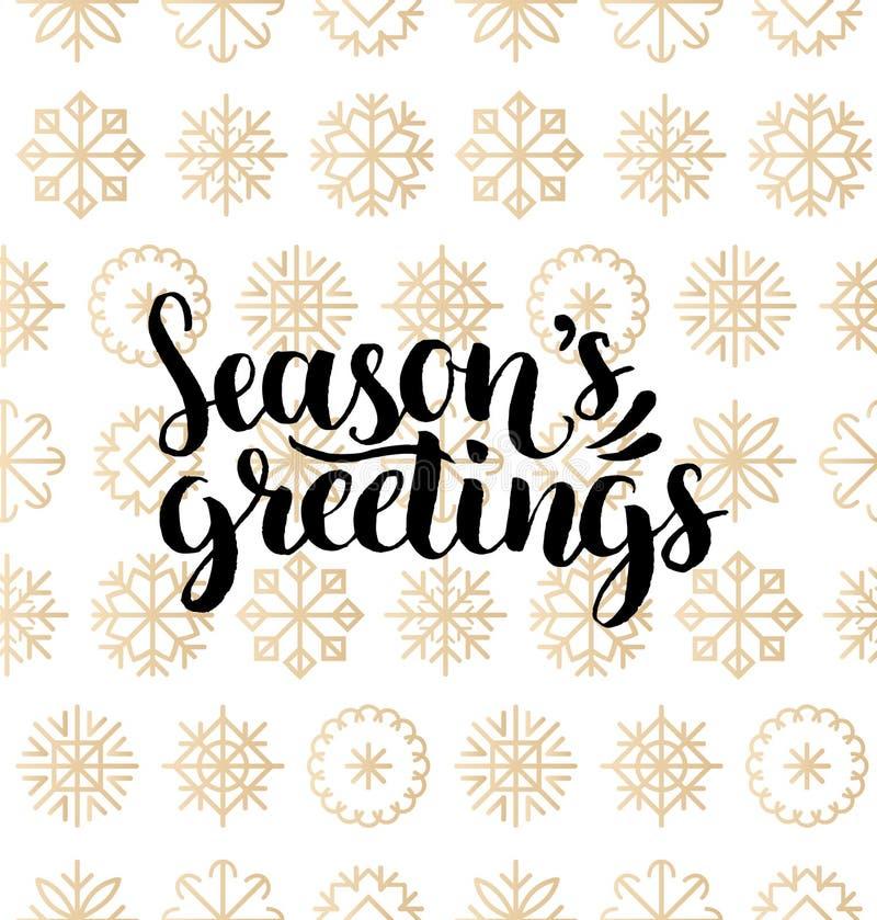 Dirigez la conception de lettrage de salutations de saisons sur le fond de flocons de neige Modèle sans couture de Noël ou de nou illustration stock