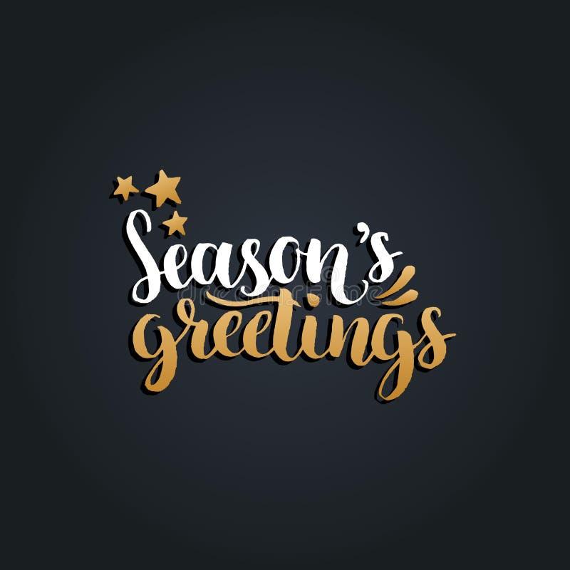 Dirigez la conception de lettrage de salutations de saisons sur le fond noir Noël, typographie de nouvelle année pour le calibre  illustration libre de droits