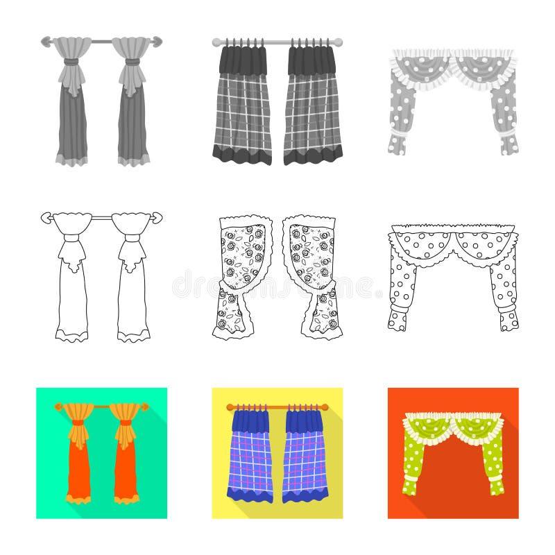 Dirigez la conception des rideaux et drapez le logo r illustration stock