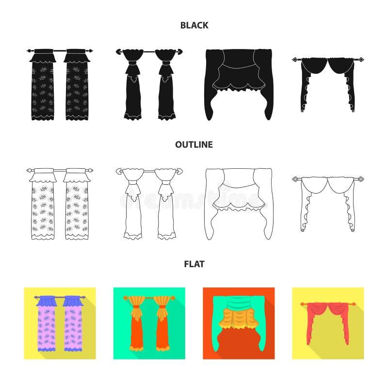 Dirigez la conception des rideaux et drapez le signe Placez des rideaux et les aveugles dirigent l'ic?ne pour des actions illustration de vecteur