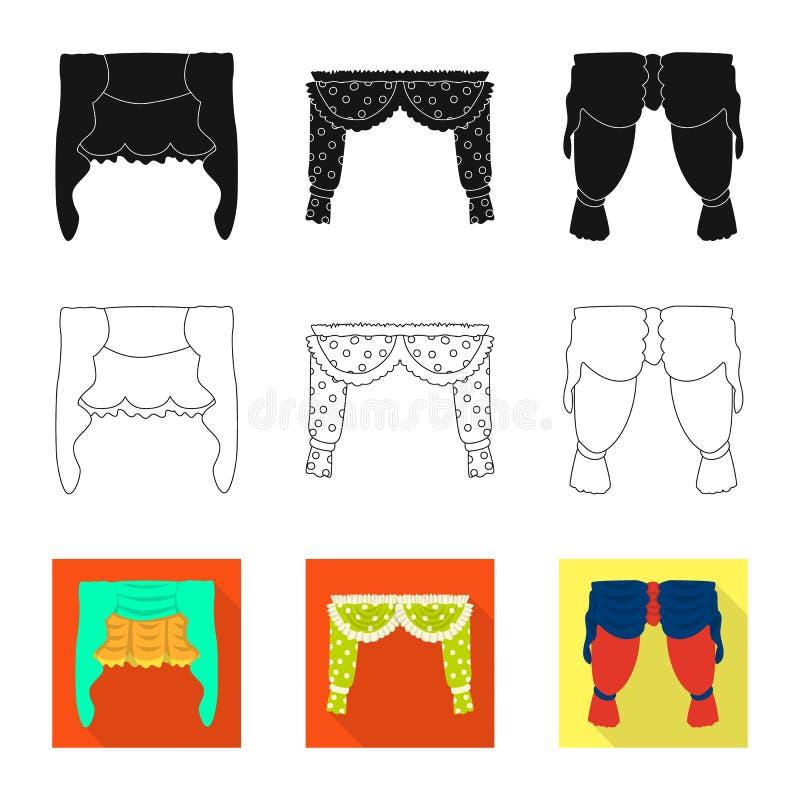 Dirigez la conception des rideaux et drapez le symbole Collection des rideaux et de l'illustration courante de vecteur d'abat-jou illustration stock