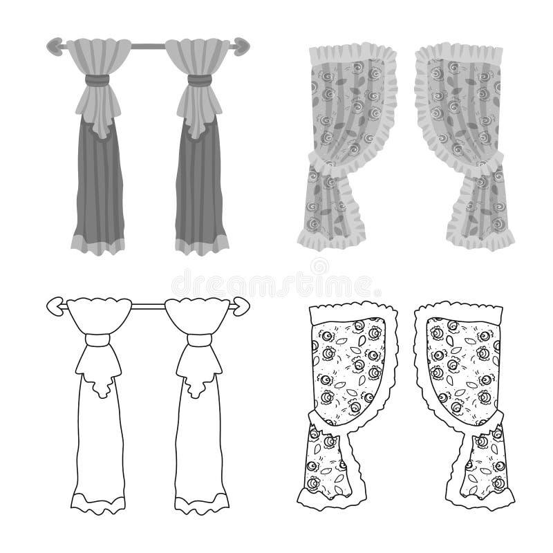 Dirigez la conception des rideaux et drapez le symbole La collection de rideaux et les aveugles dirigent l'ic?ne pour des actions illustration de vecteur